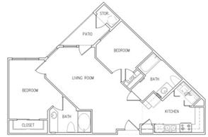 Floor Plan  2 Bedroom 2 Bathroom Floor Plan, opens a dialog