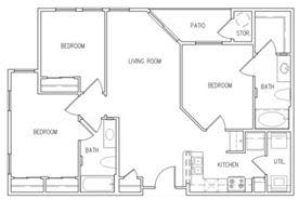 Floor Plan  3 Bedroom 2 Bathroom Floor Plan, opens a dialog