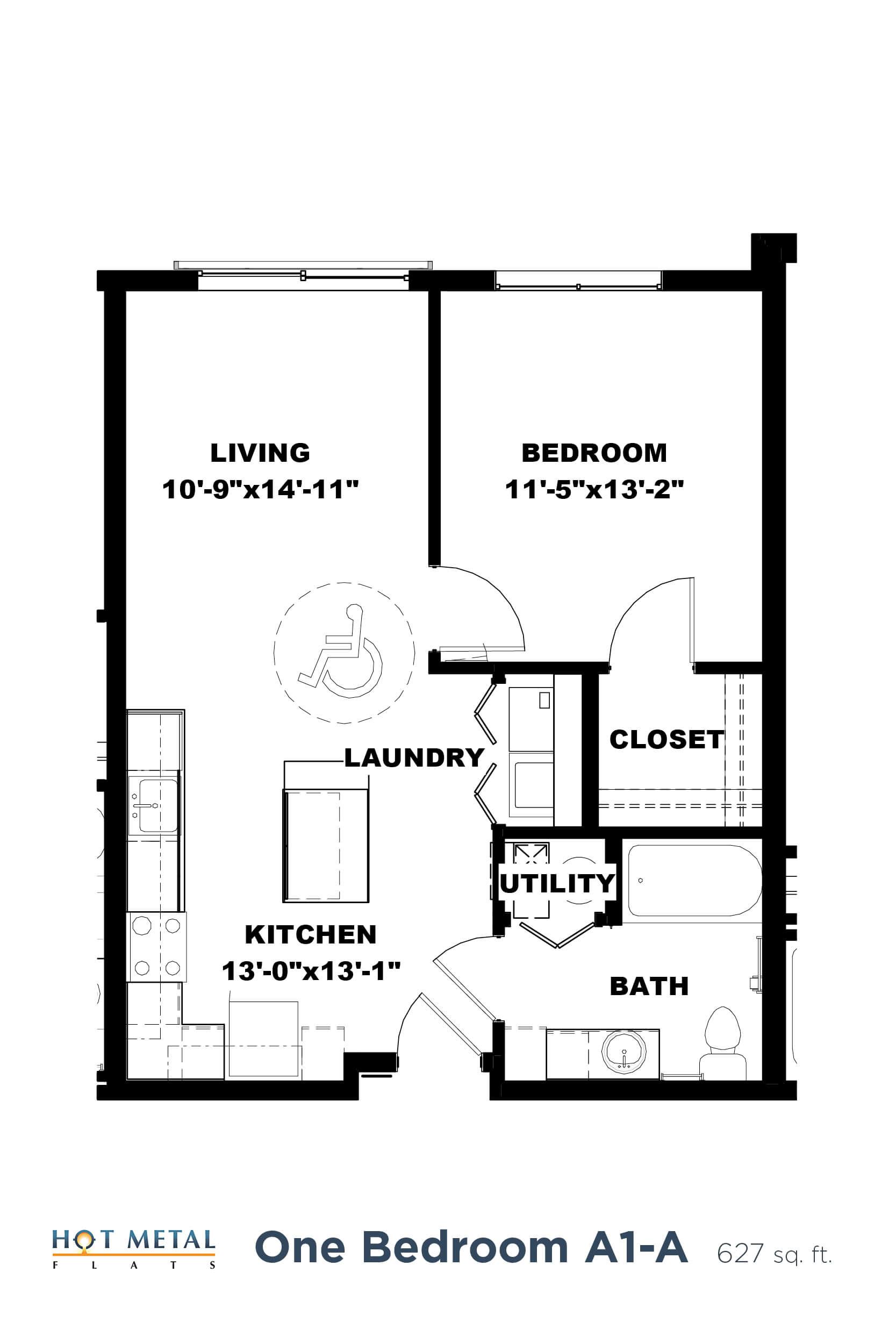 Floor Plan  Hot Metal Flats A1-A floorplan, Hot Metal Flats apartments, Pittsburgh, PA, opens a dialog