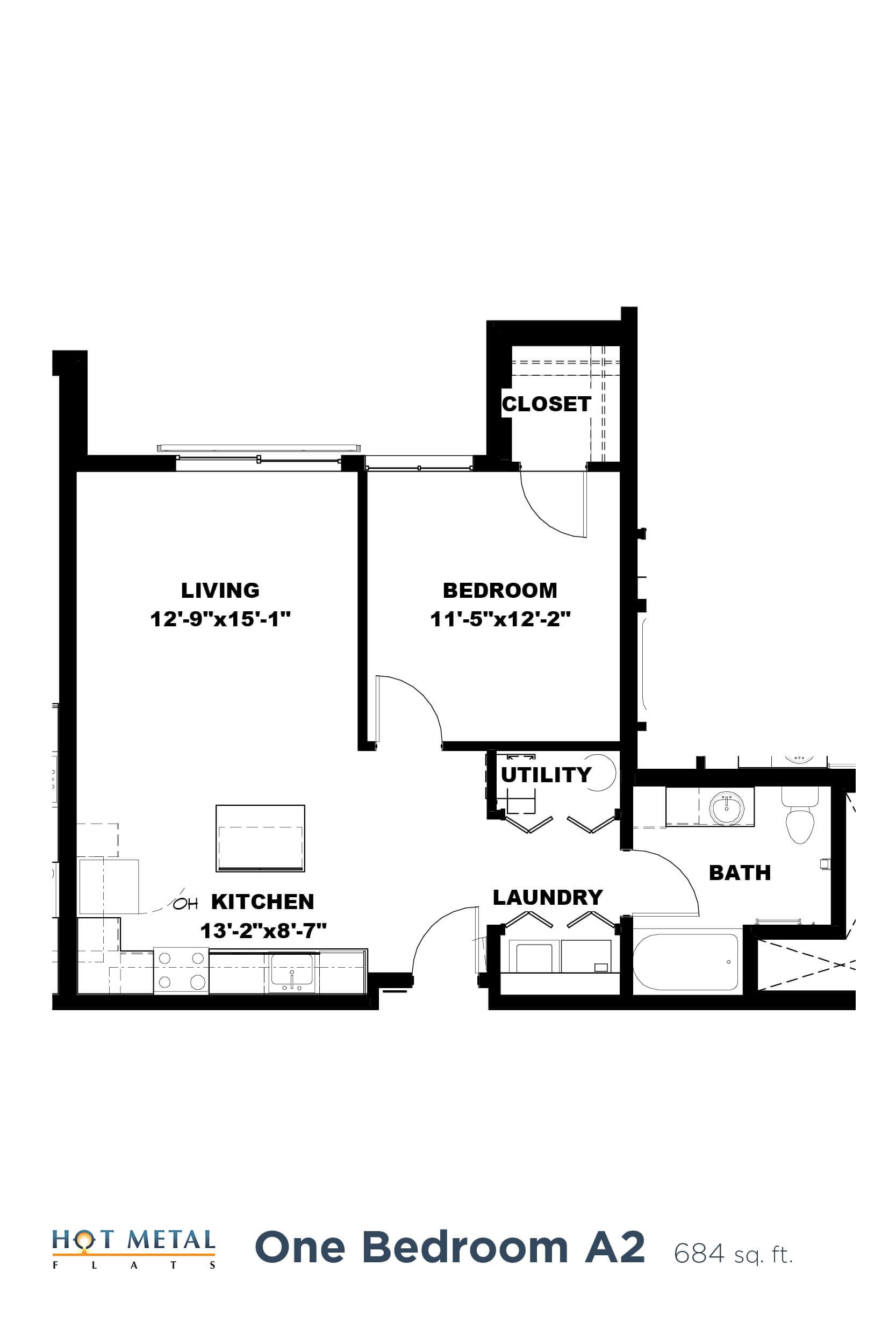 Floor Plan  Hot Metal Flats A2 floorplan, Hot Metal Flats apartments, Pittsburgh, PA, opens a dialog