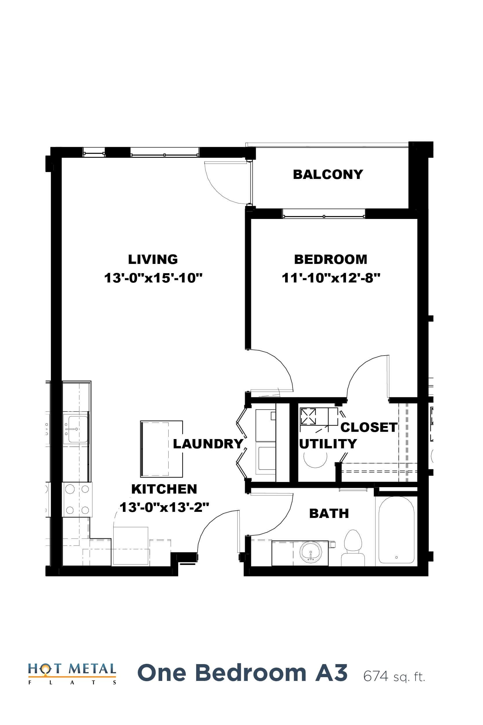 Floor Plan  Hot Metal Flats A3 floorplan, Hot Metal Flats apartments, Pittsburgh, PA, opens a dialog