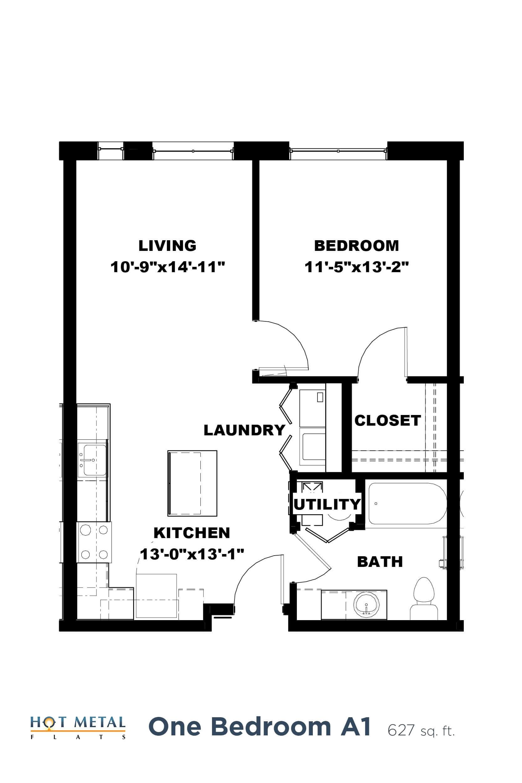 Floor Plan  Hot Metal Flats A1 floorplan, Hot Metal Flats apartments, Pittsburgh, PA, opens a dialog