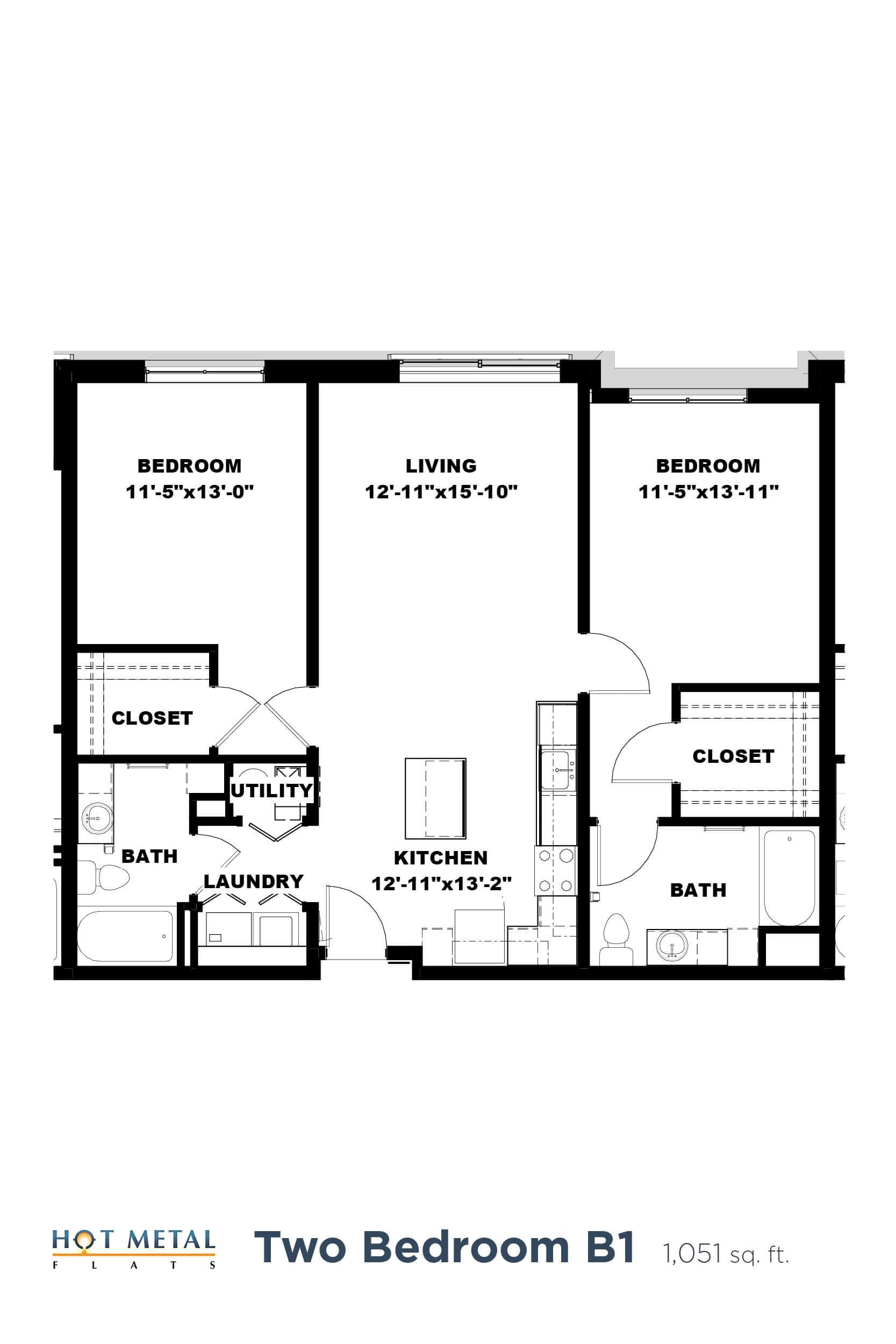Floor Plan  Hot Metal Flats B1 Floorplan, Hot Metal Flats apartments, Pittsburgh, PA, opens a dialog