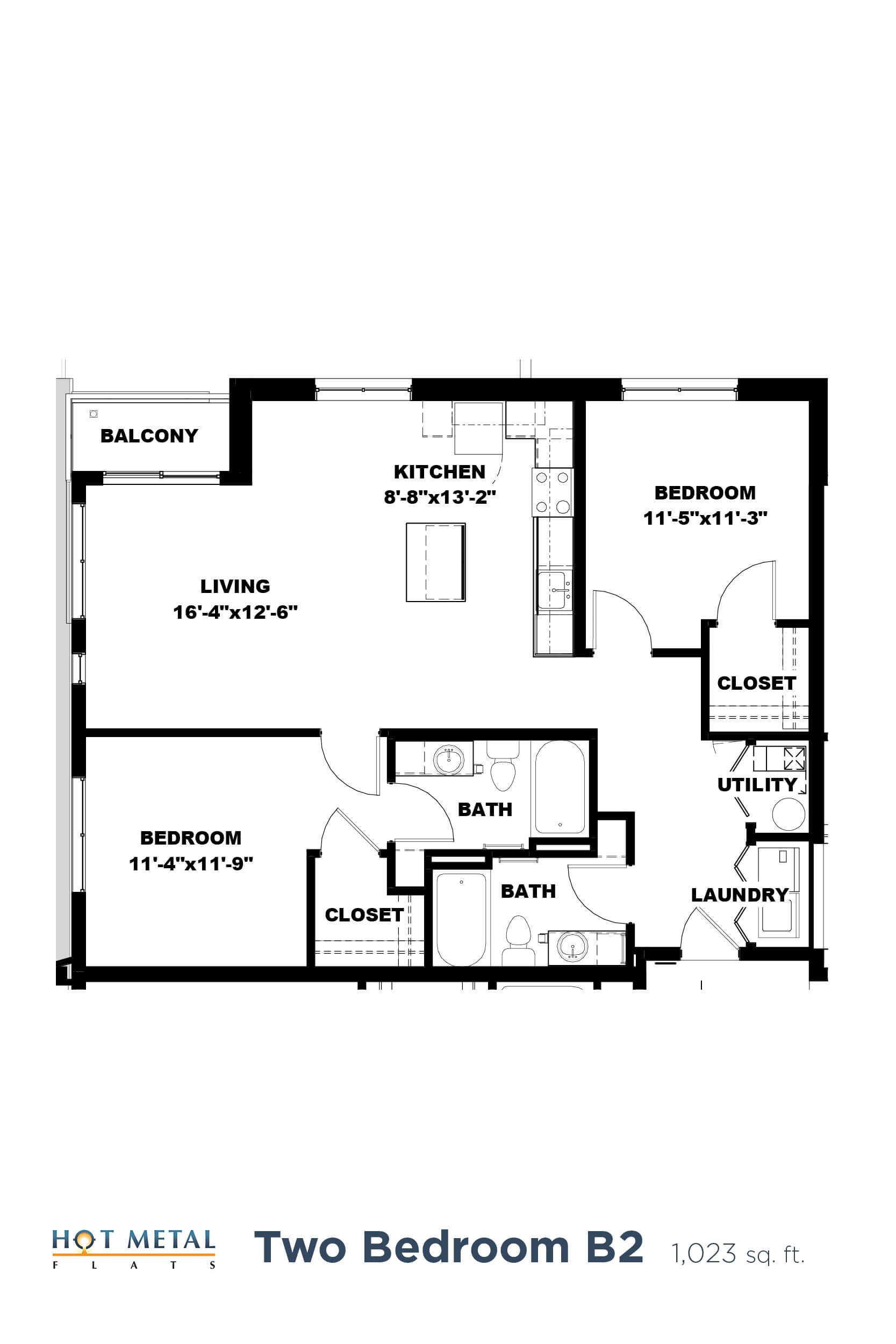 Floor Plan  Hot Metal Flats B2 floorplan, Hot Metal Flats apartments, Pittsburgh, PA, opens a dialog