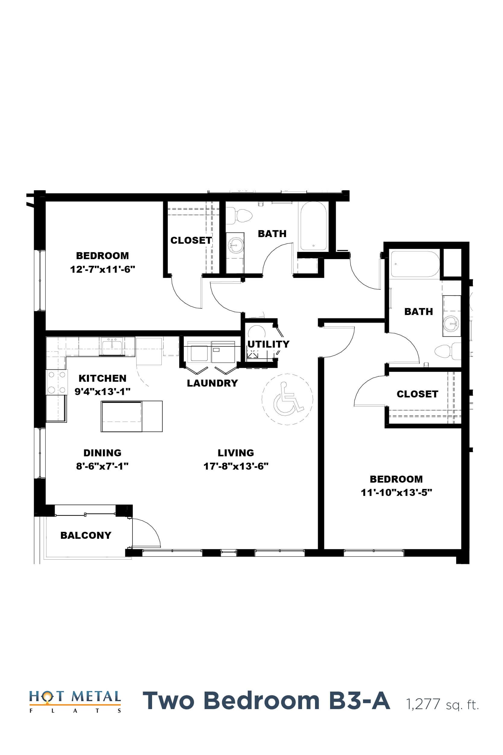 Floor Plan  Hot Metal Flats B3-A floorplan, Hot Metal Flats apartments, Pittsburgh, PA, opens a dialog