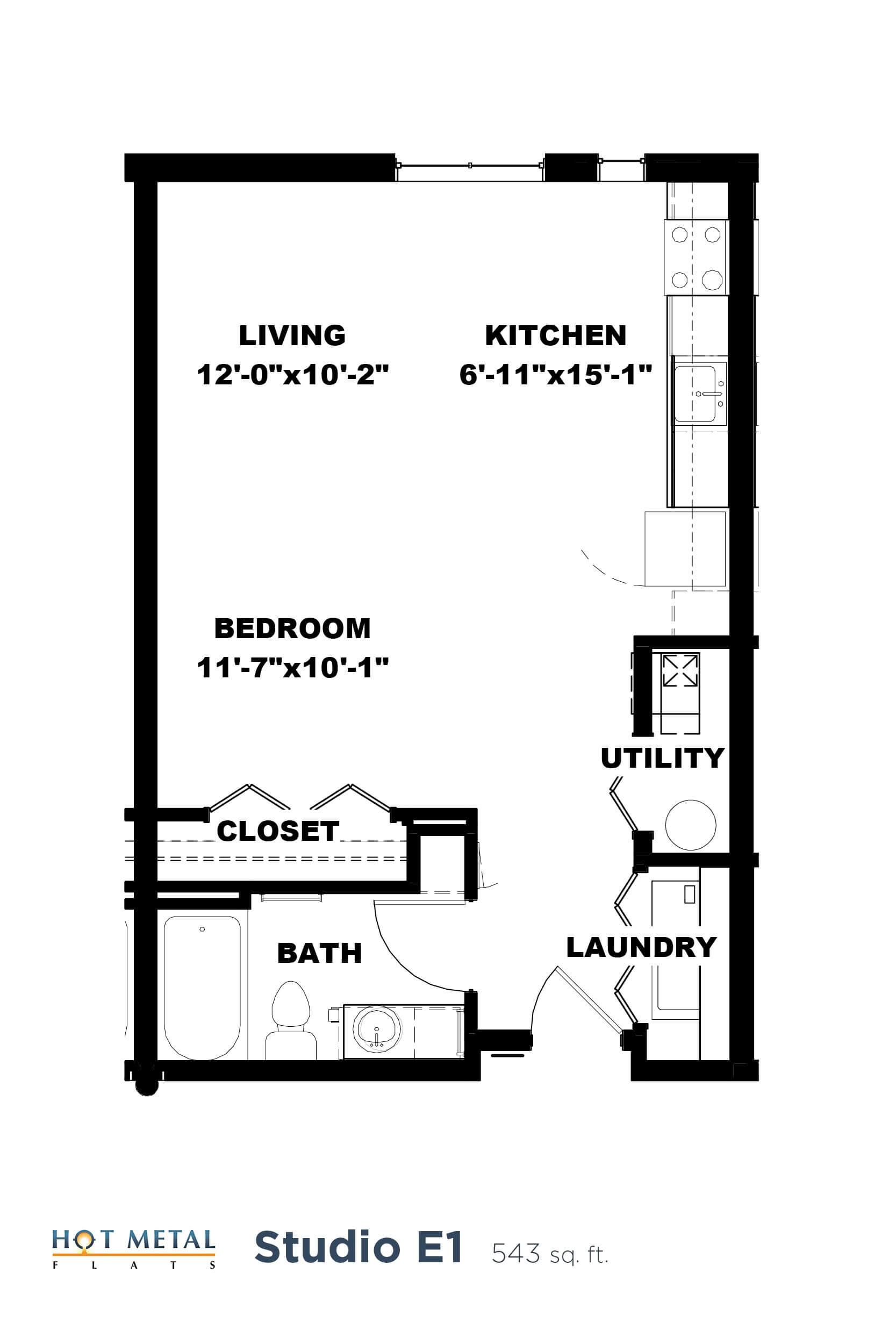 Floor Plan  Hot Metal Flats E1 floorplan, Hot Metal Flats apartments, Pittsburgh, PA, opens a dialog