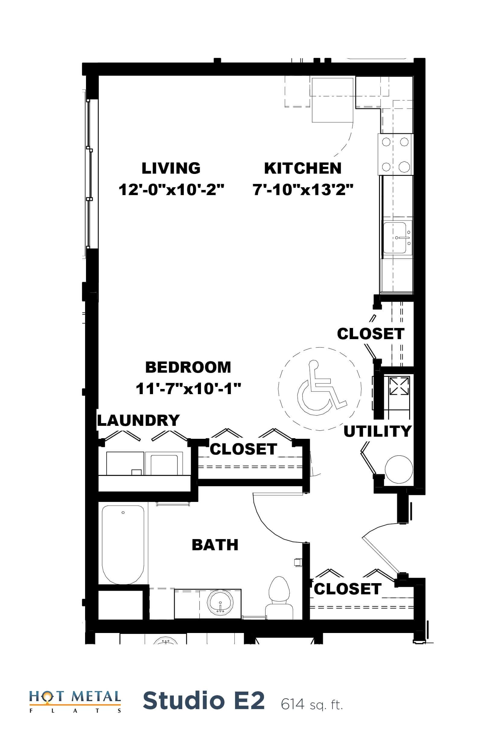 Floor Plan  Hot Metal Flats E2 Floorplan, Hot Metal Flats apartments, Pittsburgh, PA, opens a dialog