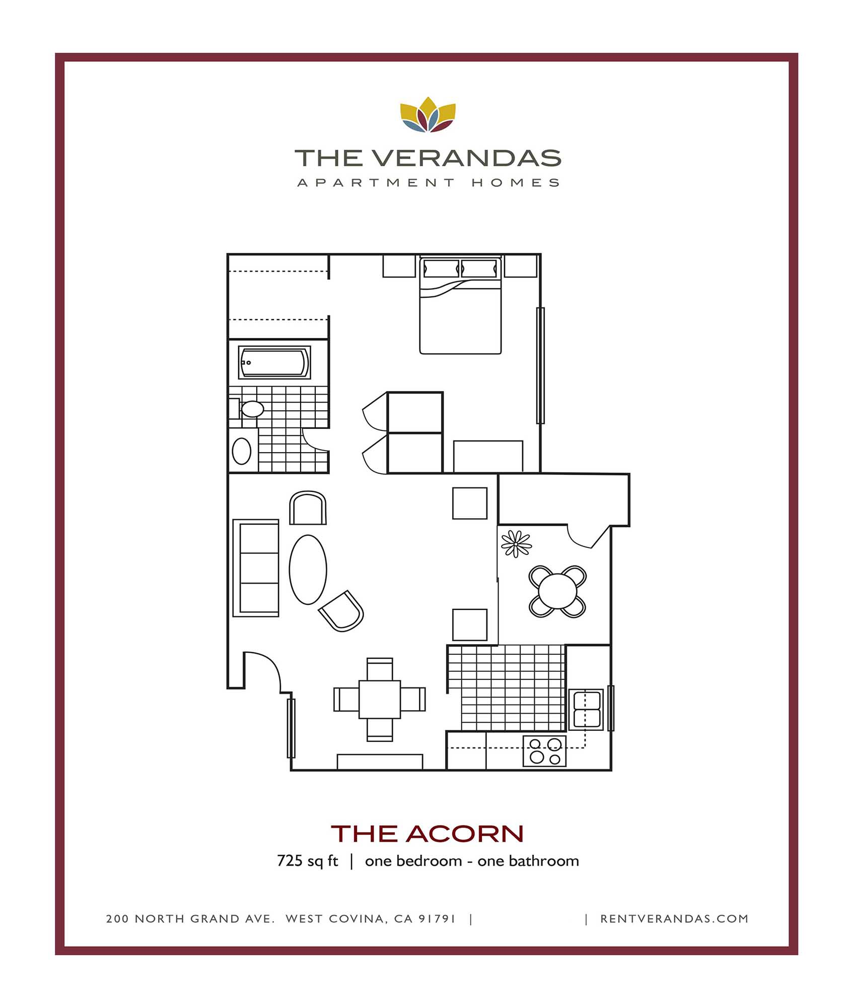 Floor Plan  1 Bed 1 Bath Floor plan at The Verandas Apartment Homes, West Covina, California
