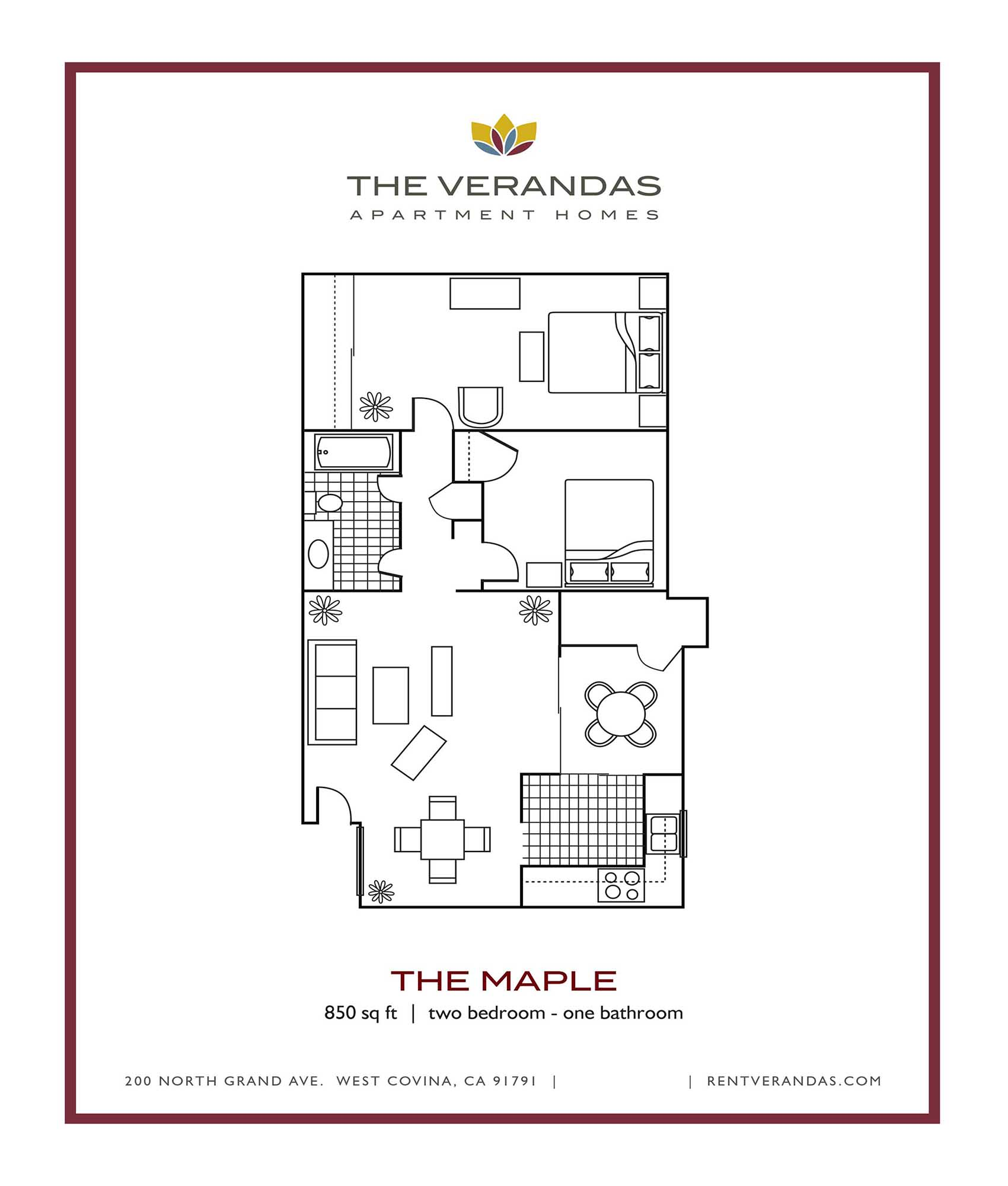 Floor Plan  2 Bed 1 Bath Floor plan at The Verandas Apartment Homes, CA, 91791