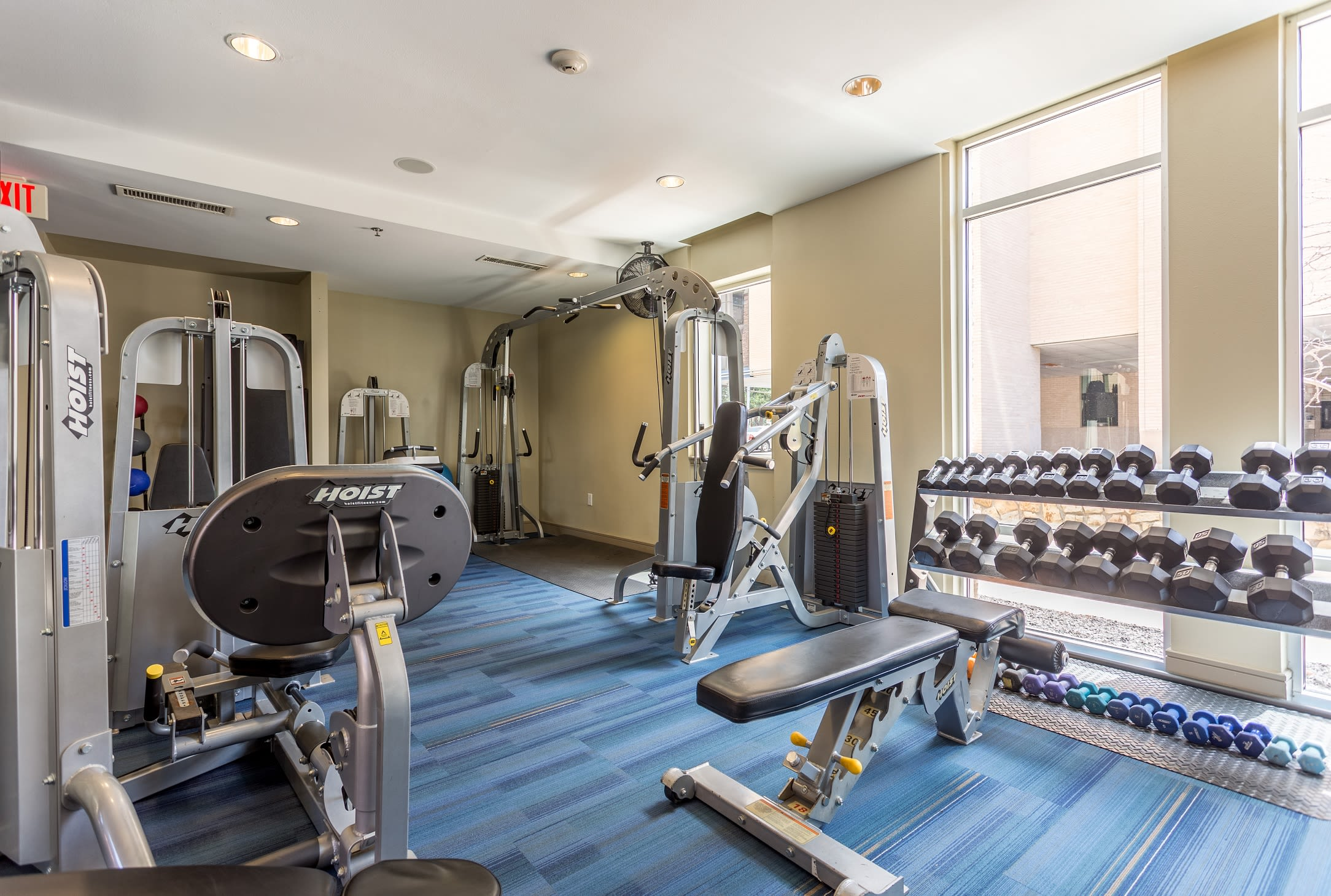 Fully Equipped Fitness Center at Windsor on the Lake, 43 Rainey Street, Austin, TX 78701