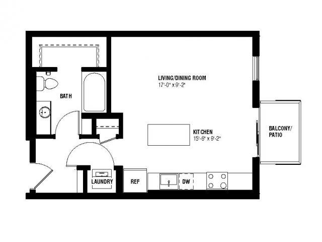 Floor Plan  Alta Floor Plan (0 beds, 1 baths, 484-515  sq.ft, rent $1,286-$1,340/month), opens a dialog