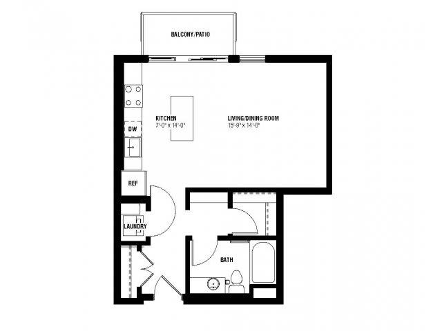 Floor Plan  Believe Floor Plan (0 beds, 1 baths, 532-550 sq.ft, rent $1,335-$1,395/month), opens a dialog