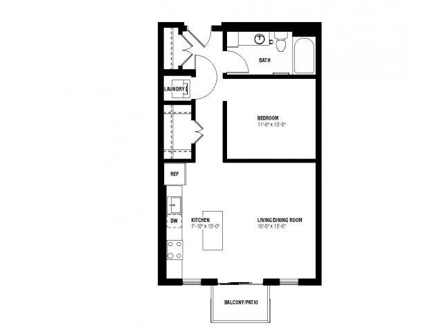 Floor Plan  Divine Alcove Floor Plan (0 beds, 1 baths, 633 sq.ft, rent $1,419-$1,530/month), opens a dialog