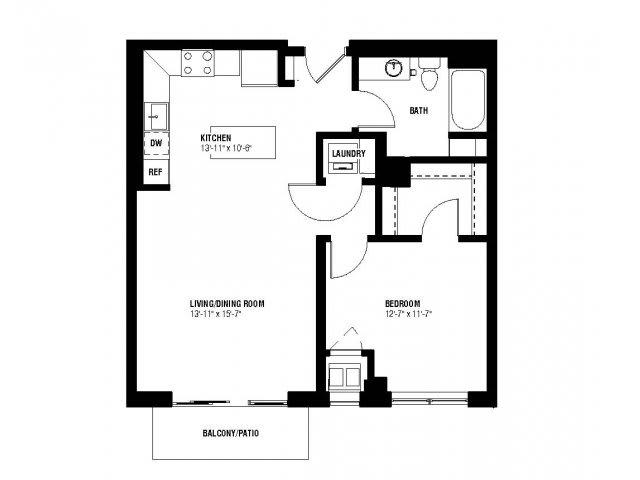 Floor Plan  Harmony Floor Plan (1 beds, 1 baths, 703 sq.ft, rent $1,645-$1,675/month), opens a dialog