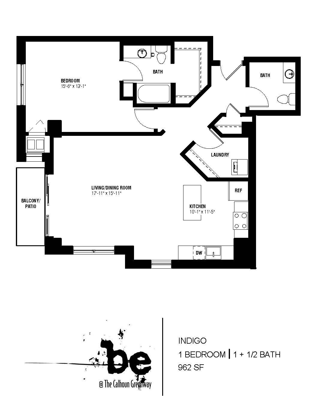 Floor Plan  Indigo Floor Plan (1 beds, 2 baths, 962 sq.ft, rent $1,780/month), opens a dialog