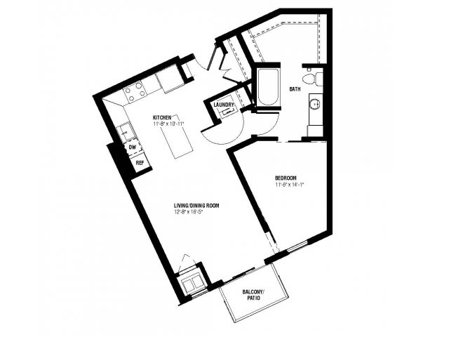 Floor Plan  Julius Floor Plan (1 beds, 1 baths, 665-686 sq.ft, rent $1,530-$1,590/month), opens a dialog