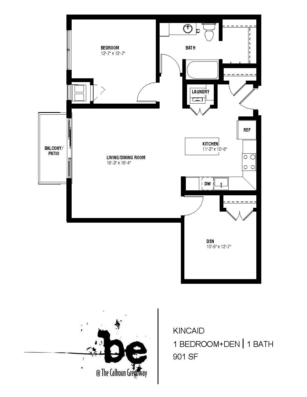Floor Plan  Kincaid 1 + Den, opens a dialog