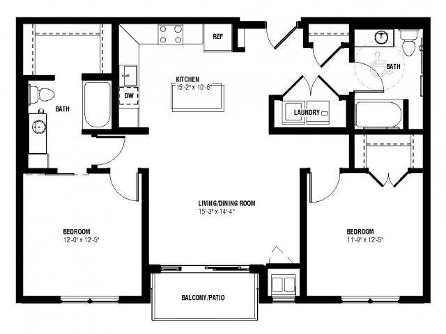 Floor Plan  Neo Floor Plan (2 beds, 2 baths, 1056 sq.ft, rent $2,045/month), opens a dialog