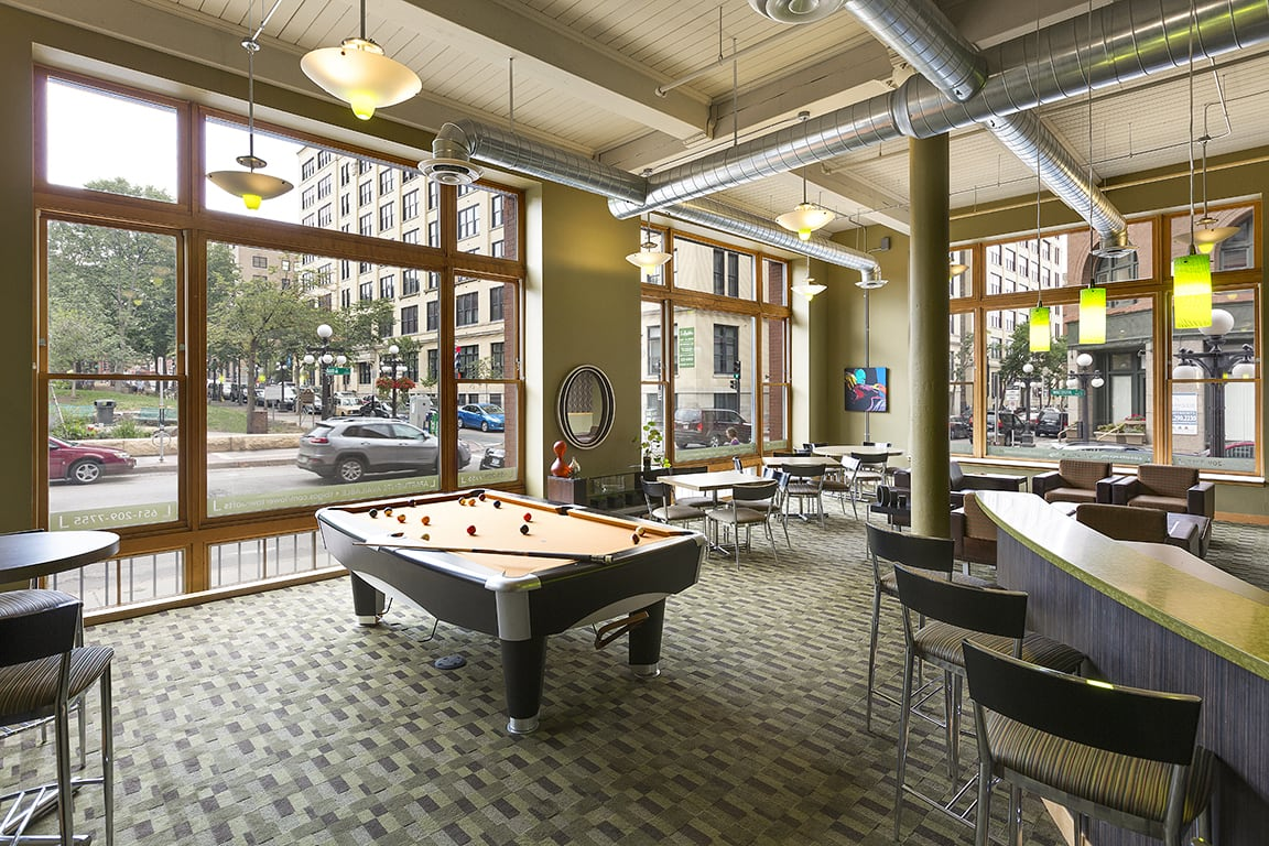 Lowertown Lofts Apartments in St. Paul, MN Billiards Game Room