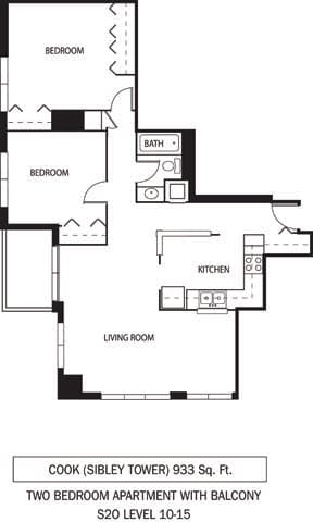 Floor Plan  Galtier Towers Apartments in Lowertown, St. Paul, MN 1 Bedroom 1 Bath Apartment, opens a dialog