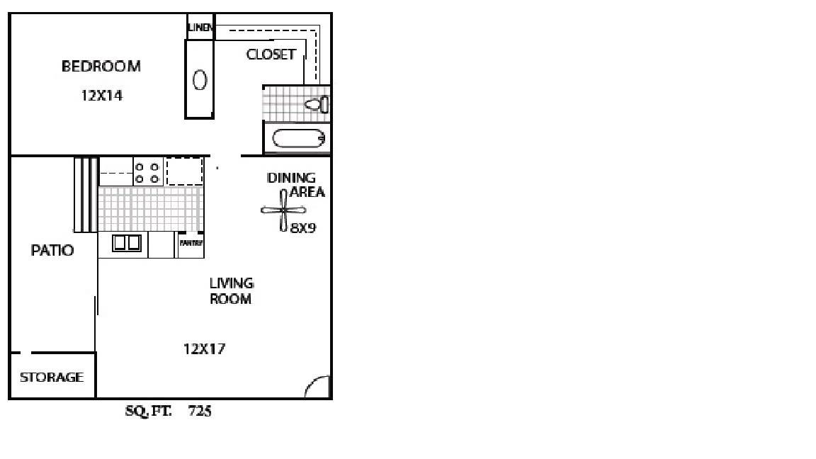 Floor Plan  1 Bedroom/1Bath, opens a dialog