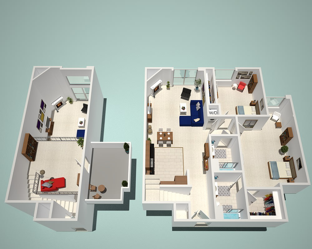 Floor Plan  2 Bed - 2 Bath H1 - Penthouse Floor Plan at The Social, North Hollywood, California