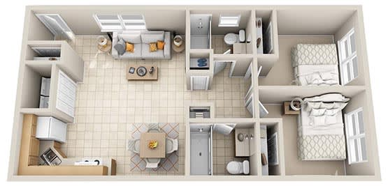Floor Plan  Two bedroom floorplan, opens a dialog