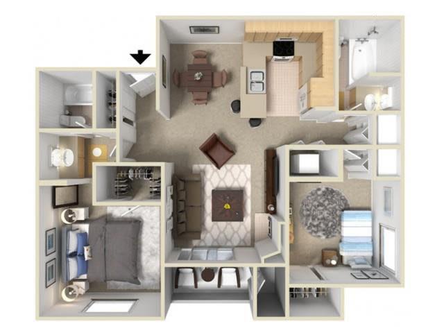Floor Plan  two bedroom floor plan l Autumn Ridge Apartments in Citrus Heights, CA, opens a dialog