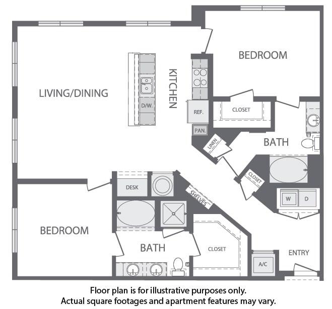 Floor Plan  M - 2 Bedroom 2 Bath Floorplan at Windsor at Cambridge Park, Cambridge, Massachusetts, opens a dialog