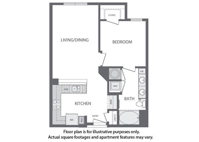 Floor Plan  B - 1 Bedroom 1 Bath Floorplan at Windsor at Cambridge Park, Cambridge, MA, opens a dialog