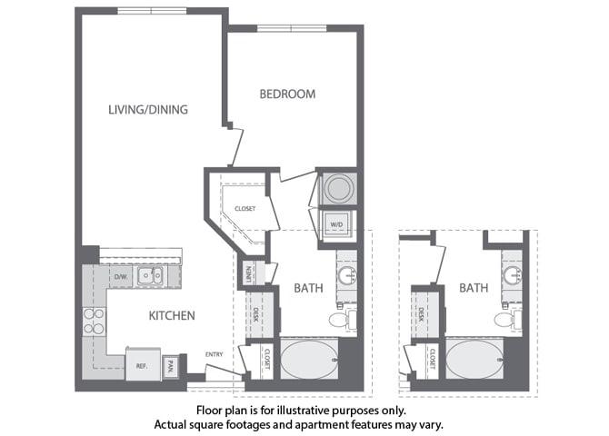 Floor Plan  C - 1 Bedroom 1 Bath Floorplan at Windsor at Cambridge Park, 160 Cambridge Park Drive, Cambridge, opens a dialog