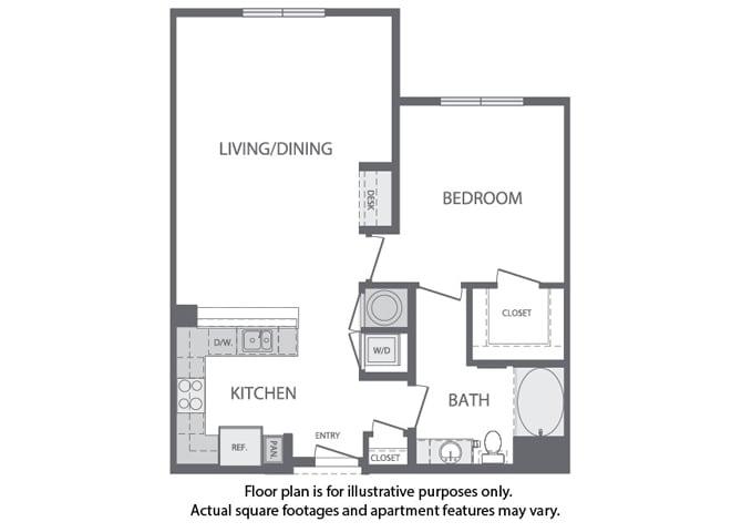 Floor Plan  D - 1 Bedroom 1 Bath Floorplan at Windsor at Cambridge Park, 02140, MA, opens a dialog