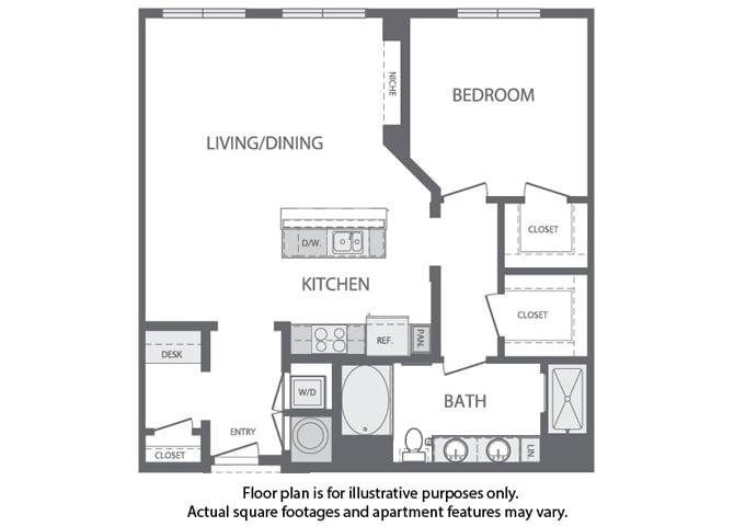 Floor Plan  F - 1 Bedroom 1 Bath Floorplan at Windsor at Cambridge Park, Cambridge, MA, opens a dialog