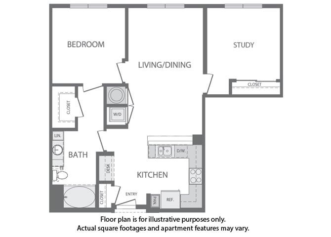 Floor Plan  H - 2 Bedroom 1 Bath Floorplan at Windsor at Cambridge Park, 160 Cambridge Park Drive, Cambridge, opens a dialog