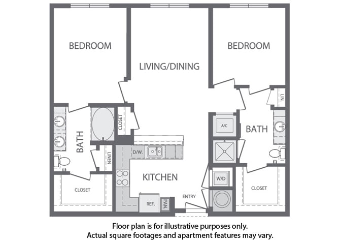 Floor Plan  I - 2 Bedroom 2 Bath Floorplan at Windsor at Cambridge Park, Massachusetts, 02140, opens a dialog