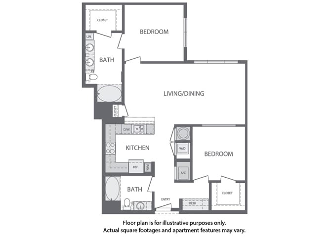 Floor Plan  J - 2 Bedroom 2 Bath Floorplan at Windsor at Cambridge Park, Cambridge, Massachusetts, opens a dialog