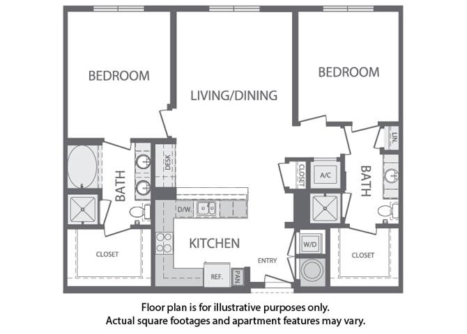 Floor Plan  K - 2 Bedroom 2 Bath Floorplan at Windsor at Cambridge Park, Cambridge, 02140, opens a dialog