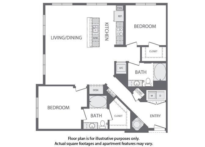Floor Plan  L - 2 Bedroom 2 Bath Floorplan at Windsor at Cambridge Park, Massachusetts, 02140, opens a dialog