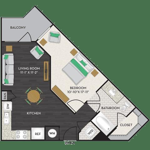 Floor Plan  Floorplan at Midtown Houston by Windsor, Texas, opens a dialog