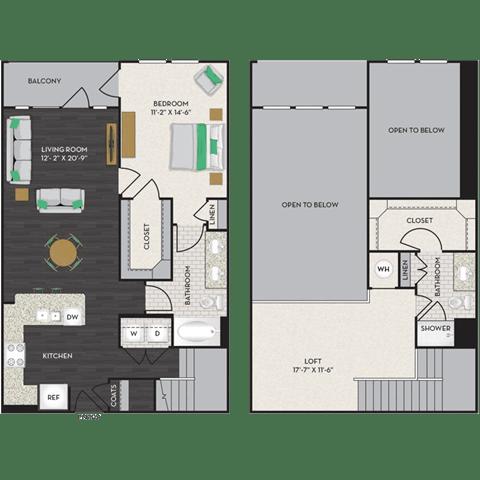 Floor Plan  Floorplan at Midtown Houston by Windsor, Houston, TX 77002, opens a dialog