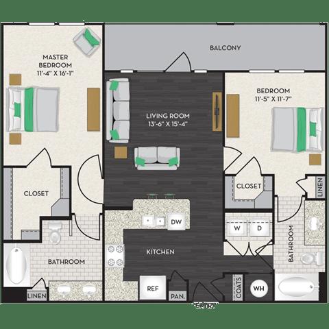 Floor Plan  Floorplan at Midtown Houston by Windsor, Houston, Texas, opens a dialog