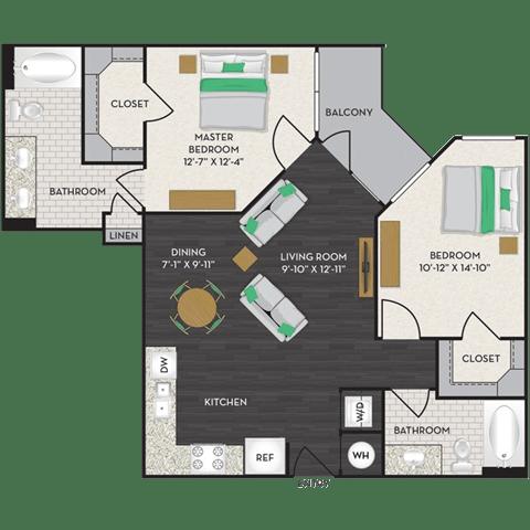Floor Plan  Floorplan at Midtown Houston by Windsor, Houston, opens a dialog