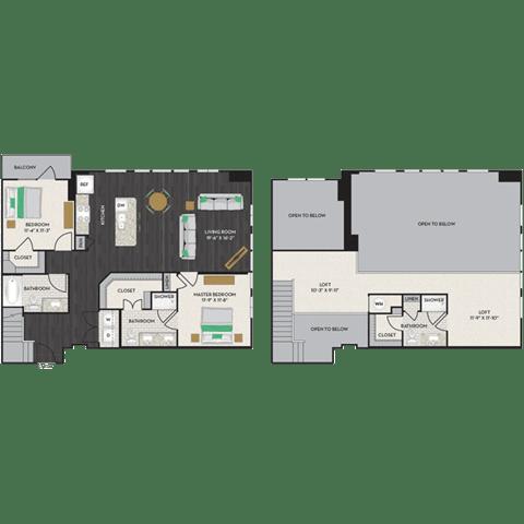 Floor Plan  Floorplan at Midtown Houston by Windsor, Texas, 77002, opens a dialog