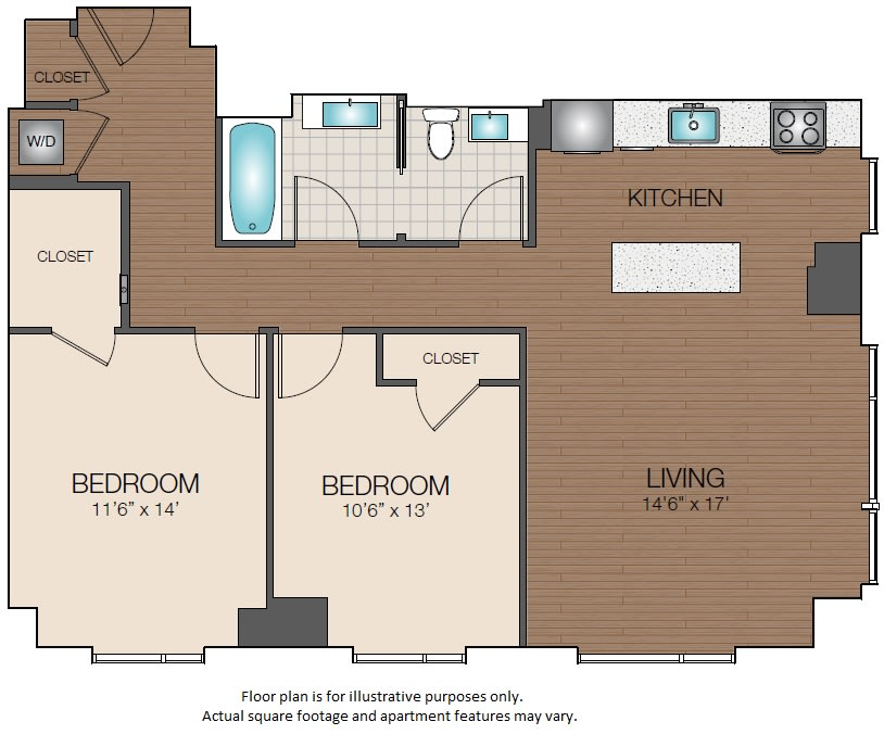 Floor Plan  2bedroom luxury The Victor Apartments Boston, MA, opens a dialog