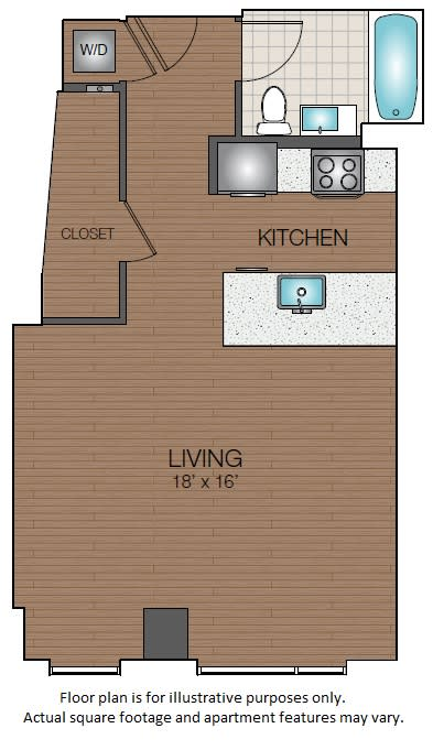 Floor Plan  Studio apartment in west end boston The Victor, opens a dialog