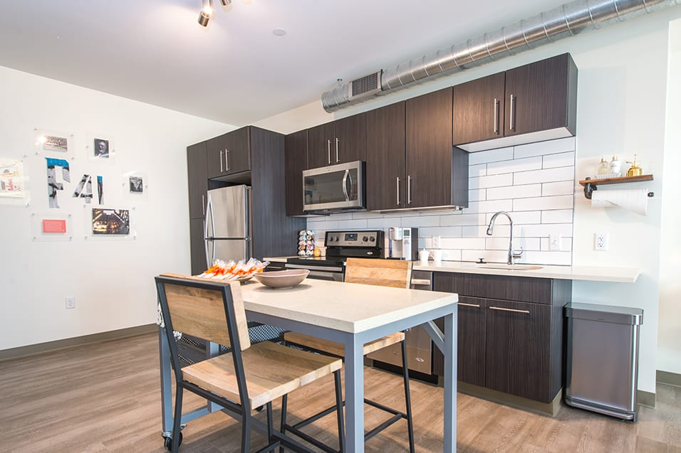 The Foundry Kitchen with Move-able Kitchen Island The Foundry at 41st Apartments, Lawrenceville, Pittsburgh, PA