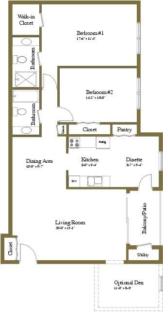 2 Bedroom 2 Bath Floor Plan in Towson