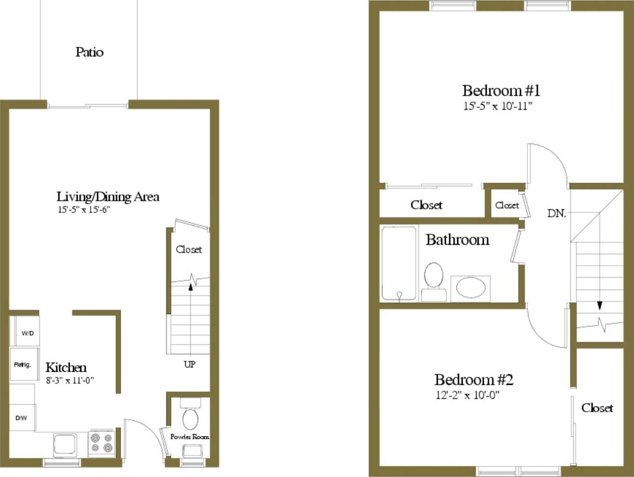 Floor Plan  2 Bedrooms 1.5 Bath