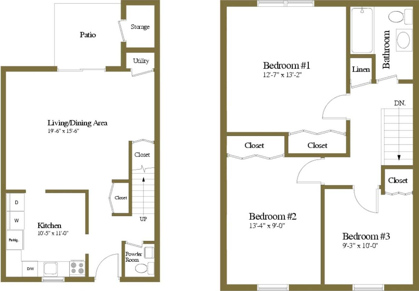 Floor Plan  3 Bedrooms 1.5 Bath
