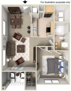 Floor Plan  Rapallo Apartments Capri 1 bedroom floor plan